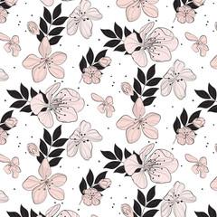 Vector  cherry bloosom pattern. Sakura floral texture. Summer petal bloom decoration.  Spring tender decoration. Tender summer texture.