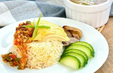 Hainanese chicken rice (Thai name is Khao man kai)