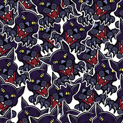 Happy Halloween holiday background. Vector seamless pattern for home decor, wallpaper, scrapbooking, wrapping, cards. Hand drawn evil cats.