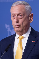 U.S. Secretary of Defence James Mattis addresses a press conference at the Ministry of Defence in Olso