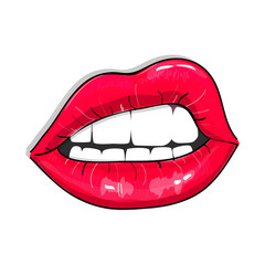 Print of pink sexy lips. Glamour girl Vector illustration. Sensual fashion lipstick decoration