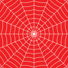 White Cobweb on Red background. Vector illustration