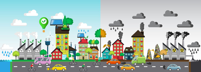 Green and polluted city. For diagram, web design,  brochure,  template,  layout, banner illustration