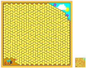 Logic puzzle game with labyrinth for children and adults. Help the bee find the way out of the hive. Vector cartoon image.