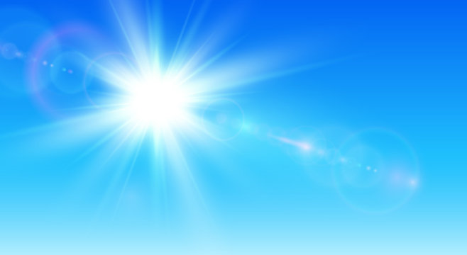 Sunny background, blue sky with sun and lens flare