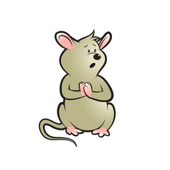 surprised mouse vector cartoon isolated on white back ground
