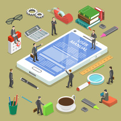 Online uer manual flat isometric vector concept. People, surrounded with some office stuff, are discussing a content of the online guide.