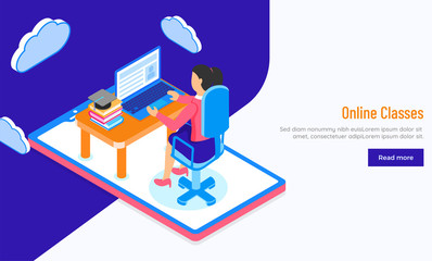Online Classes or E-Learning concept with isometric illustration of a girl studying through laptop for Responsive hero banner or landing page design.