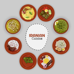 Top view of Iranian Cuisine collection with ethnic menu on grey background.
