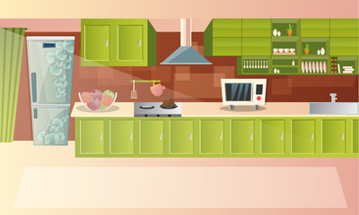 Urban or modern architecture of Kitchen interior design with electrical equipments and utensils.