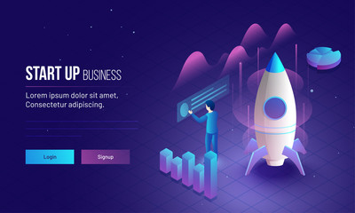 Business Startup responsive landing page or hero banner design with 3D illustration of an new entrepreneur analysis his company growth or success.