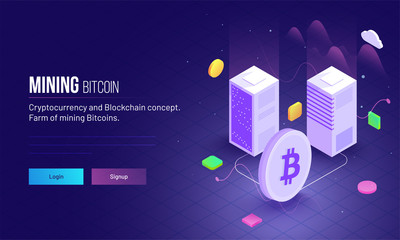 Isometric view of two servers connect with Bitcoin symbol between ultraviolet rays for Mining Bitcoin landing page concept.