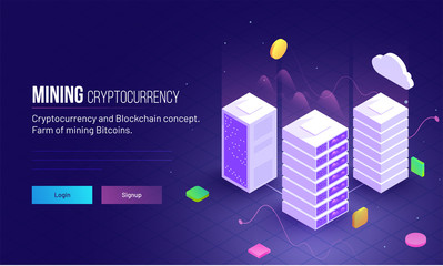 Mining Cryptocurrency responsive hero image or landing page design for farm mining bitcoins and blockchain concept.