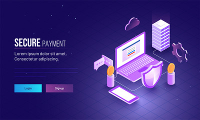 Secure Payment, isometric concept,landing page for web template with illustration of laptop, server connected with security shield to secure your data.