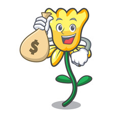 With money bag daffodil flower character cartoon