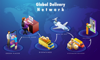 Global online delivery process, isometric design with product order, packaging, shipping and courier boy delivering at destination point. Can be used for advertisement.