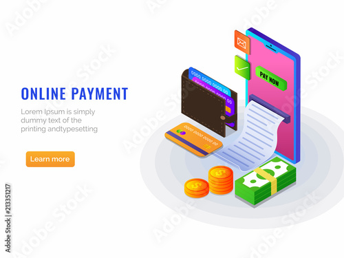 Isometric Online Payment From Concept Internet Payments By Card And Cash Options Receipt Secure Money Transfer With Stack On Coins