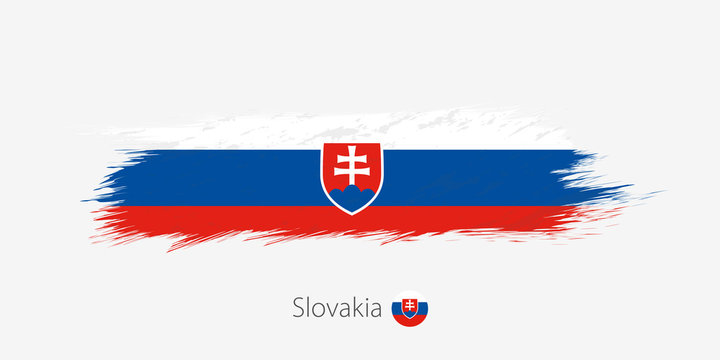 Flag of Slovakia, grunge abstract brush stroke on gray background.