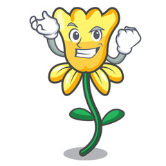 Successful daffodil flower character cartoon