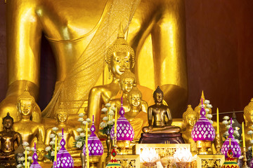 gold Buddha in the temple, Thailand