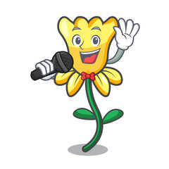 Singing daffodil flower mascot cartoon