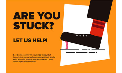 Get out of bad / depressing / stressful situation ad. Stuck in life / Help concept. Vector illustration of a Foot stuck into chewing gum.
