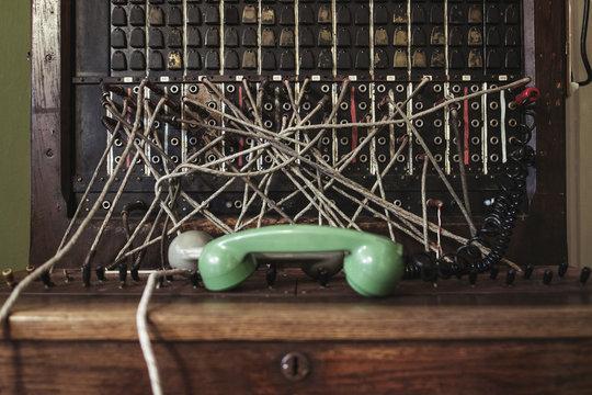 Old telephone pbx switchboard