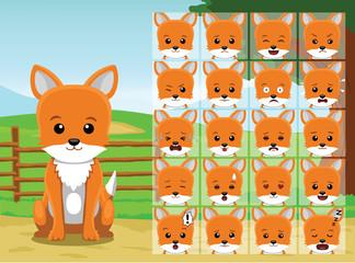 Farm Fox Cartoon Emotion faces Vector Illustration