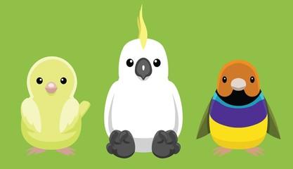 Canary Cockatoo Finch Pet Doll Set Cartoon Vector Illustration