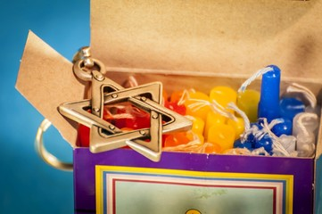 Hanukkah candles box and David Star, Jewish Hanukkah holiday concept image.