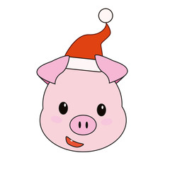 Christmas pig in a Santa hat.