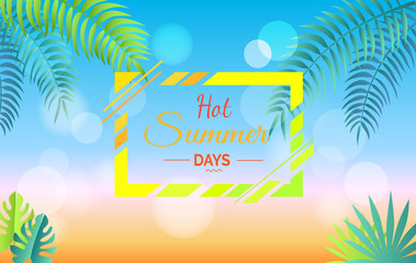 Hot Summer Days Promotional Poster with Leaves