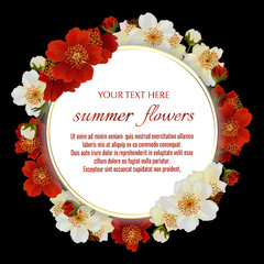 Template for greeting cards, wedding decorations, invitation, sales. Round Vector banner with Luxurious Luxurious summer flowers. Spring or summer design.