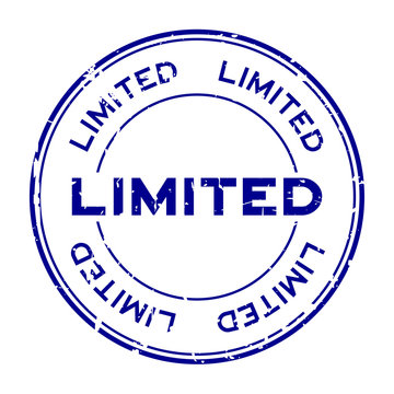 Grunge blue limited round rubber seal stamp on white background