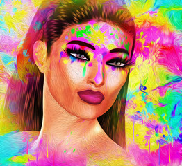 Painted face, abstract art with oil paint effect. A rainbow of colors come together to create this artistic beauty, fashion and hairstyle scene. Our unique 3d rendered digital model art scene