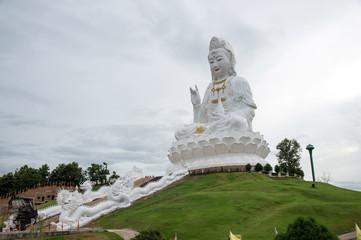 The beautiful big Guan yin statue at Wat Hyua Pla Kang, Chiang Rai, Thailand