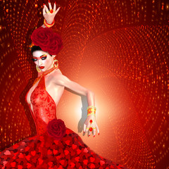 Sexy flamenco dancer in red heart dress with swirling glittering gold background.  Flamenco, the mystery, seduction and beauty are all captured right here with our unique 3d rendered digital model