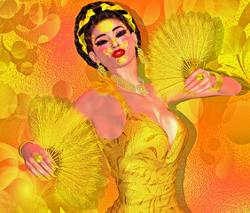 Sexy flamenco dancer in bright yellow dress with matching feather fans.  Flamenco, the mystery, seduction and beauty are all captured right here with our unique 3d rendered digital model art designs.