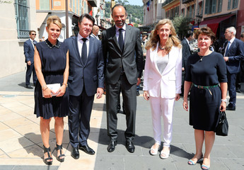 Laura Estrosi, Mayor of Nice Christian Estrosi, French Prime Minister Edouard Philippe, French Justice Minister Nicole Belloubet and Interdepartmental Delegate for Victim Support Elisabeth Pelsez pose in Nice