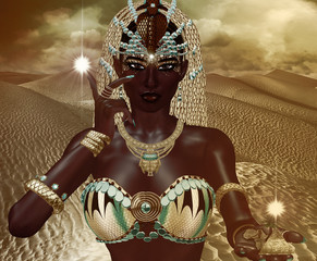 Egyptian Magic Woman Goddess in gold jewelry and costume against desert sand background.Our original 3d rendered digital model art creation shows off the mystery, beauty, wealth and power of Egypt.