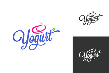 yogurt cream logo. Frozen yogurt vintage lettering set background