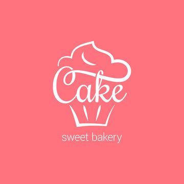 Cake logo of bakery. Cupcake dessert on pink background
