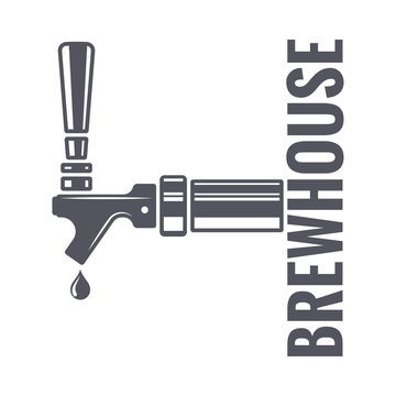 beer tap logo of brewhouse on white background