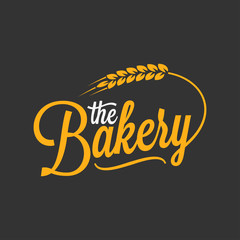 bakery vintage lettering logo with wheat on black background