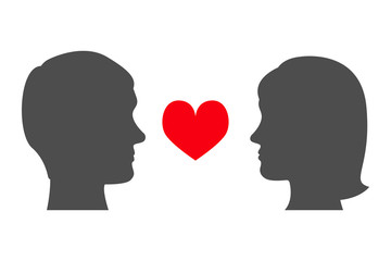Man and woman looking at each other. Male and female head silhouettes and red heart. Face to face. Vector illustration.