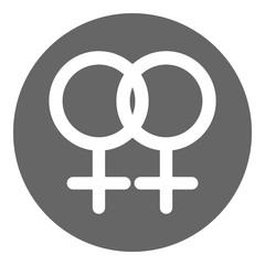 Lesbian symbol. Female homosexuality glyph. Vector icon.