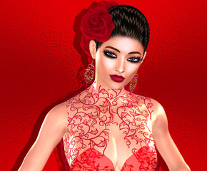 Woman in red. A red rose adorns the hair of this beautiful Flamenco dancer. Mystery, seduction and beauty are all captured right here with our unique 3d rendered digital model and art designs.