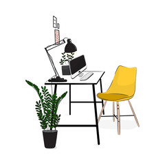 Vector office workplace with computer and plants. Comfortable modern creative workspace with yellow chair. Flat loft studio concept. Home cosy lifestyle apartment mock up.