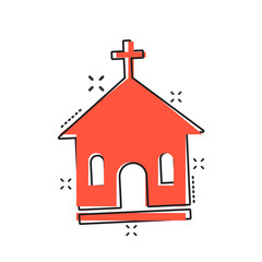 Vector cartoon church sanctuary icon in comic style. Chapel sign illustration pictogram. Church business splash effect concept.