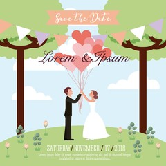 wedding couple holding balloons hearts save the date card